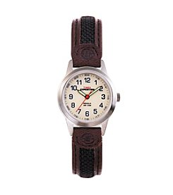 Timex® Women's Expedition Metal Field Mini Watch With Brown Nylon/Leather Strap