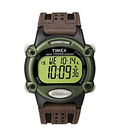 Timex® Men's Expedition Digital CAT Brown Nylon/Leather Strap Watch