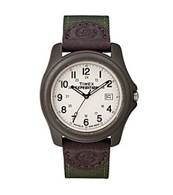 Timex® Men's Expedition Camper Green Nylon/Leather Strap Watch