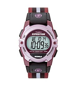 Timex® Unisex Expedition Mid-Size Digital CAT Plum Stripe Nylon Strap Watch