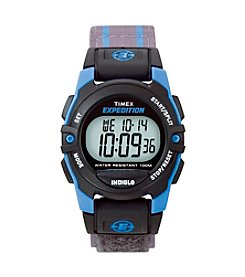 Timex® Unisex Expedition Mid-Size Digital CAT Grey/Blue Stripe Fast Wrap Velcro Strap Watch