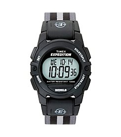 Timex® Unisex Expedition Mid-Size Digital CAT Black/Grey Stripe Nylon Strap Watch