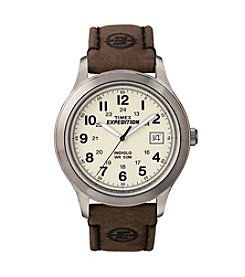 Timex® Men's Expedition Metal Field Brown Leather Strap Watch