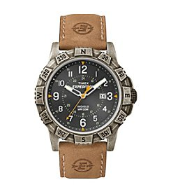 Timex® Men's Expedition Rugged Metal Field Black Dial Tan Leather Strap Watch