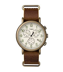 Timex® Men's Weekender Chrono Oversize Brown Leather Slip-Thru Strap Watch