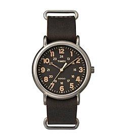 Timex® Men's Weekender Oversize Dark Brown Leather Slip-Thru Strap Watch