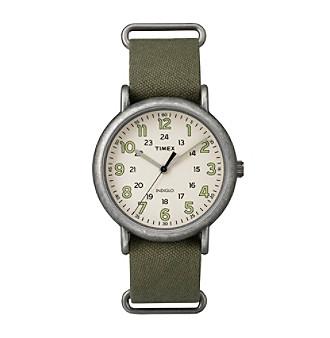 Timex® Men's Weekender Oversize Olive Fabric Slip-Thru S