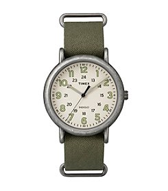 Timex® Men's Weekender Oversize Olive Fabric Slip-Thru Strap Watch