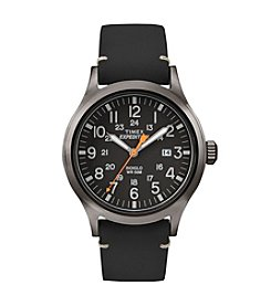 Timex® Men's Expedition Scout Black Leather Strap Watch