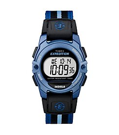 Timex® Unisex Expedition Digital CAT Mid-Size Blue Stripe Nylon Strap Watch