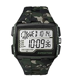Timex® Men's Expedition Grid Shock Green Camo Resin Strap Watch