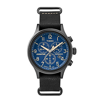 Timex® Men's Expedition Scout Chrono Black Leather Slip-