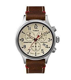 Timex® Men's Expedition Scout Chrono Brown Leather Slip-Thru Strap Watch