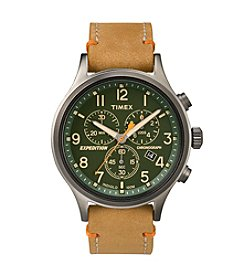 Timex® Men's Expedition Scout Chrono Tan Leather Slip-Thru Strap Watch