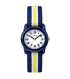 Timex® Kids' Navy Analog Watch, Navy/Yellow Stripe Elastic Fabric Strap