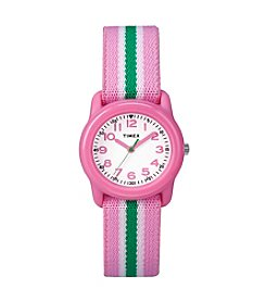 Timex® Kids' Pink Analog Watch, Pink/Green Stripe Elastic Fabric Strap