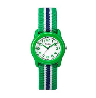 Timex® Kids' Green Analog Watch, Green/Blue Stripe Elastic Fabric Strap