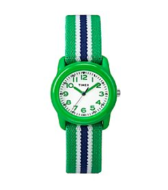 Timex® Kids' Green Analog Watch, Green/Blue Stripe Elastic Fabric Strap