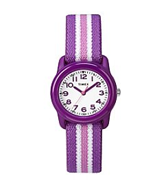 Timex® Kids' Purple Analog Watch, Purple/Pink Stripe Elastic Fabric Strap