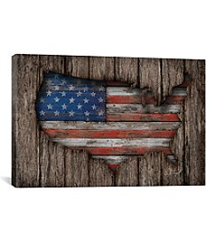 American Wood Flag by Diego Tirigall Canvas Print
