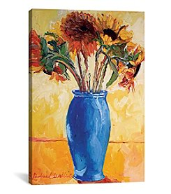 iCanvas Sunflowers In A Blue Vase II by Richard Wallich Canvas Print