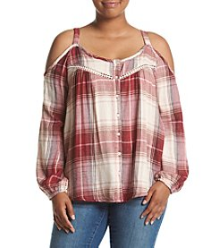 Jessica Simpson Plus Size Plaid Cold Shoulder Peasant Top