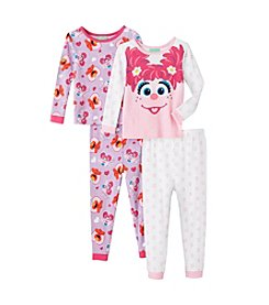 Sesame Street Girls' 2T-4T 4-Piece Abby & Elmo Pajama Set