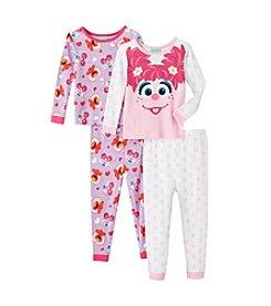 Sesame Street Girls' 2T-4T 4-Piece Abby & Elmo Pajama Set