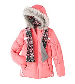 London Fog® Girls' 7-16 Puffer Jacket With Scarf