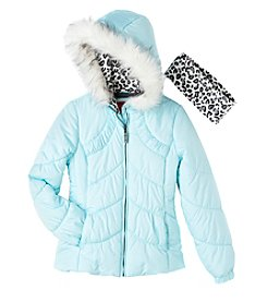 London Fog® Girls' 7-16 Ruched Puffer Jacket With Headband