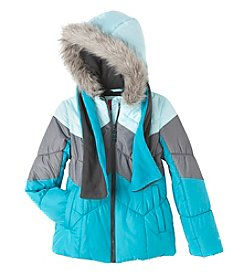London Fog® Girls' 7-16 Chevron Puffer Jacket With Scarf