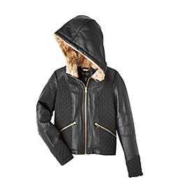Jessica Simpson Girls' 7-16 Quilted Faux Leather Jacket