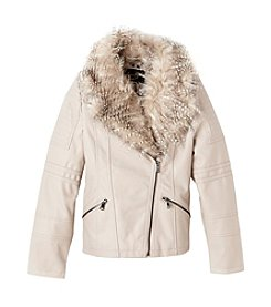 Jessica Simpson Girls' 7-16 Faux Leather Moto Jacket With Fur Collar
