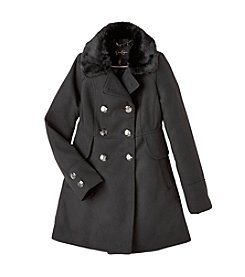 Jessica Simpson Girls' 7-16 Fur Collar Dress Coat