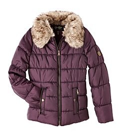 Jessica Simpson Girls' 7-16 Faux Fur Collar Puffer Jacket