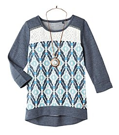 Belle du Jour Girls' 7-16 Geo Sweatshirt With Necklace