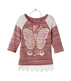Beautees Girls' 7-16 3/4 Sleeve Butterfly Raglan Top With Necklace