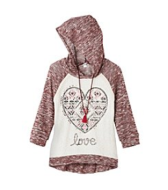 Beautees Girls' 7-16 3/4 Sleeve Love Hoodie With Necklace