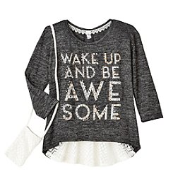 Beautees Girls' 7-16 3/4 Sleeve Be Awesome Tee With Purse