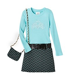 Beautees Girls' 4-6X Tiara Marsha Dress With Purse