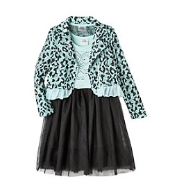 Beautees Girls' 4-6X Owl Dress With Leopard Moto Jacket