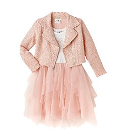 Beautees Girls' 4-6X Tiara Dress With Moto Jacket