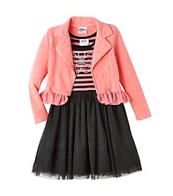 Beautees Girls' 4-6X Striped Dress With Moto Jacket
