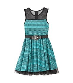 Beautees Girls' 7-16 Belted Illusion Fit And Flare Dress