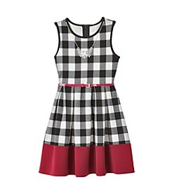 Beautees Girls' 7-16 Belted Buffalo Plaid Dress With Necklace