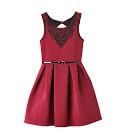 Beautees Girls' 7-16 Belted Fit And Flare Dress