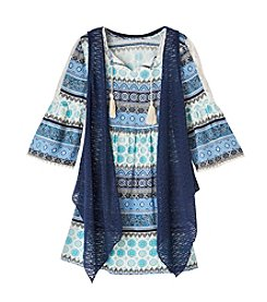 Beautees Girls' 7-16 Boho Bell Sleeve Dress With Vest