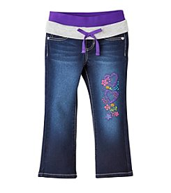 Squeeze® Girls' 2T-6X Knit Waistband Embellished Jeans