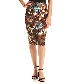 Cupio Abstract Print Pencil Skirt