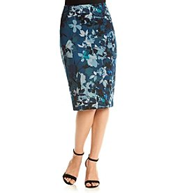 Cupio Floral Print Pencil Skirt